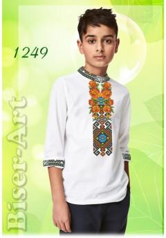 Пошита хлопчача сорочка, льон білий (11249)