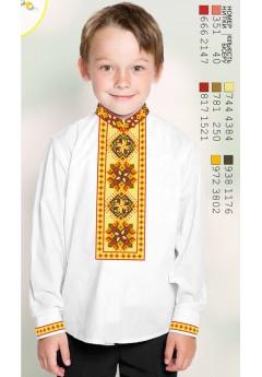 Пошита хлопчача сорочка, льон білий (11251)