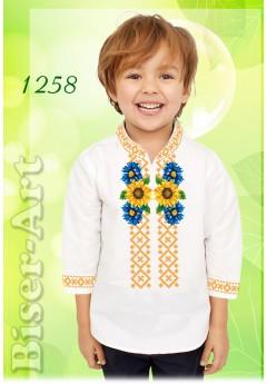 Пошита хлопчача сорочка, льон білий (11258)