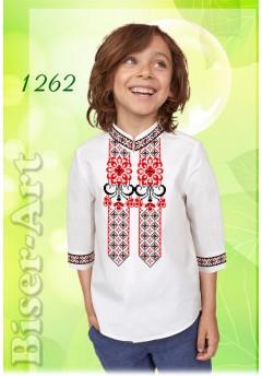 Пошита хлопчача сорочка, льон білий (11262)
