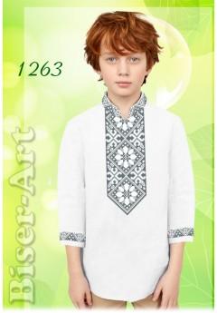 Пошита хлопчача сорочка, льон білий (11263)