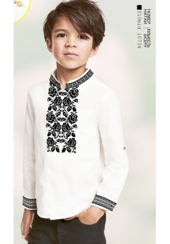Хлопчача сорочка, льон білий (1268)