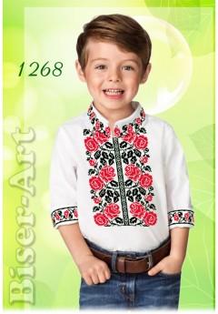 Пошита хлопчача сорочка, льон білий (11268)