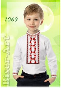 Пошита хлопчача сорочка, льон білий (11269)