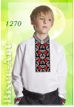 Пошита хлопчача сорочка, льон білий (11270)