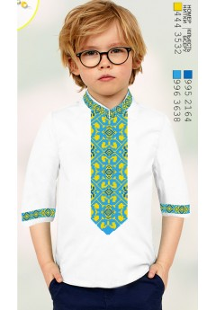 Пошита хлопчача сорочка, льон білий (11281)