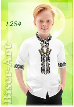 Пошита хлопчача сорочка, льон білий (11284)