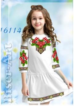 Плаття дитяче, льон білий (СД114)