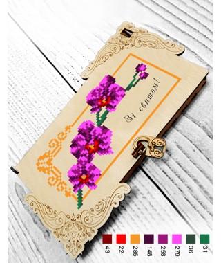 Коробочка для грошей або прикрас під вишивку бісером *Орхідеї* (22207)