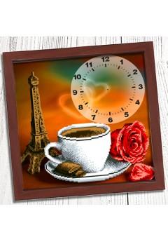 Годинник для вишивки бісером *Ранкова кава в Парижі* (009)
