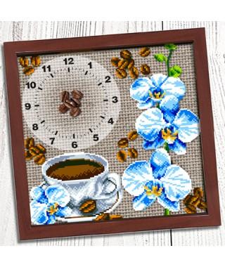 Годинник для вишивки бісером *Кава з орхідеями* (012)