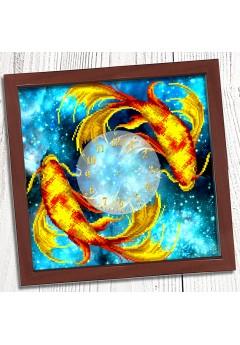 Годинник для вишивки бісером *Золоті рибки* (018)