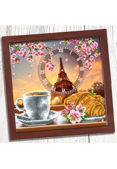 Годинник для вишивки бісером *Французький сніданок* (025)