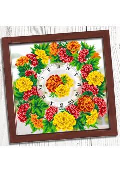 Годинник для вишивки бісером *Чорнобривці та калина* (029)
