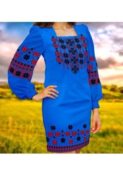 Плаття, синій габардин (6046)