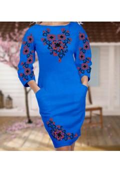 Плаття, синій габардин (6059)