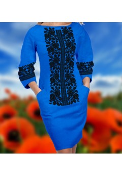 Плаття, синій габардин (6067)