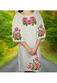 Заготовка для вишивки бісером (нитками) жіночого плаття на невибіленому льоні (6082)