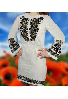 Заготовка для вишивки бісером (нитками) жіночого плаття на невибіленому льоні (6084)