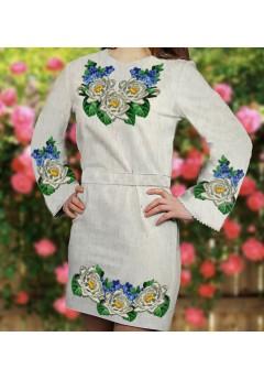 Заготовка для вишивки бісером (нитками) жіночого плаття на невибіленому льоні (6086)