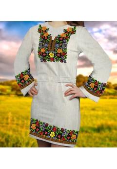 Заготовка для вишивки бісером (нитками) жіночого плаття на невибіленому льоні (6088)
