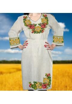 Заготовка для вишивки бісером (нитками) жіночого плаття на невибіленому льоні (6089)
