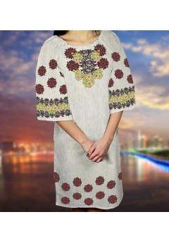Заготовка для вишивки бісером (нитками) жіночого плаття на невибіленому льоні (6090)