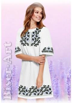 Плаття, льон білий (6091)