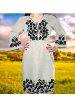Заготовка для вишивки бісером (нитками) жіночого плаття на невибіленому льоні (6091)