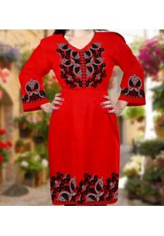 Плаття, червоний габардин (6091)