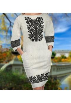 Заготовка для вишивки бісером (нитками) жіночого плаття на невибіленому льоні (6093)