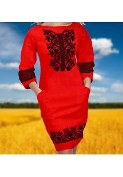 Плаття, червоний габардин (6093)