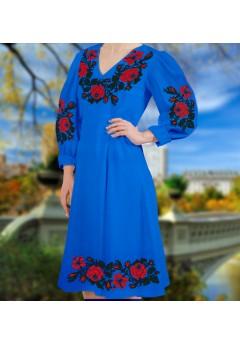 Плаття, синій габардин (6096)