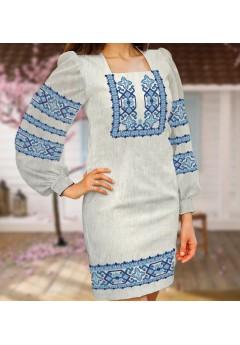 Заготовка для вишивки бісером (нитками) жіночого плаття на невибіленому льоні (6098)