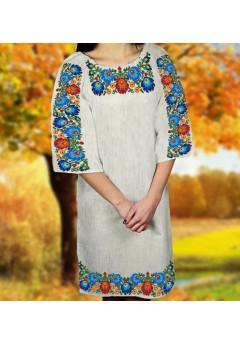 Заготовка для вишивки бісером (нитками) жіночого плаття на невибіленому льоні (6099)