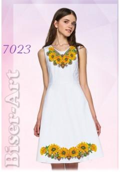Плаття без рукавів, льон білий (7023)