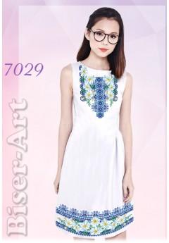 Плаття без рукавів, льон білий (7029)