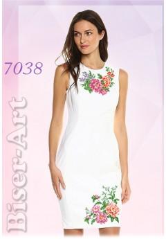 Плаття без рукавів, льон білий (7038)