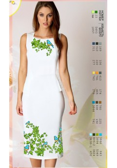 Плаття без рукавів, льон білий (7039)