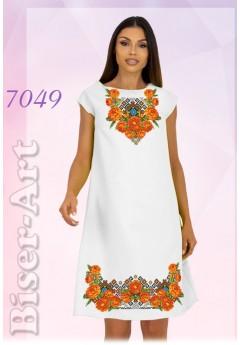 Плаття без рукавів, льон білий (7049)