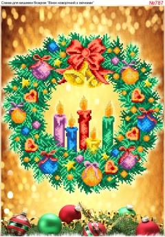 Схема вишивки бісером (хрестиком) Вінок новорічний зі свічками (787)