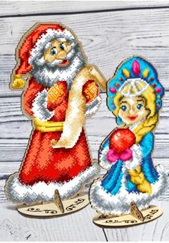 Дід Мороз та Снігуронька з фанери під вишику бісером (93040502)