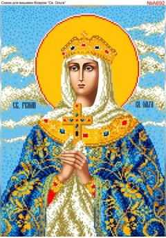 Схема вишивки бісером (хрестиком) «Св.Ольга (А692)»