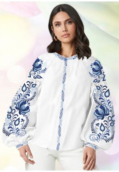 Жіноча сорочка, білий льон (В28)