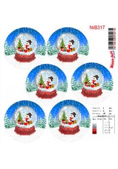 Схема вишивки бісером (хрестиком)Новорічні ігршки (B317)