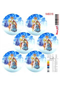 Схема вишивки бісером (хрестиком)Новорічні ігршки (B318)
