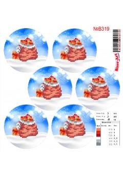 Схема вишивки бісером (хрестиком)Новорічні ігршки (B319)
