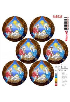 Схема вишивки бісером (хрестиком)Новорічні ігршки (B326)