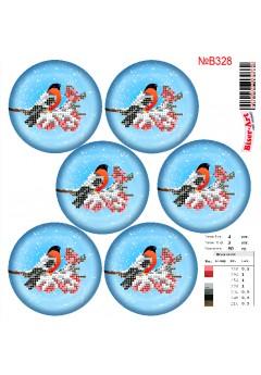 Схема вишивки бісером (хрестиком)Новорічні ігршки (B328)
