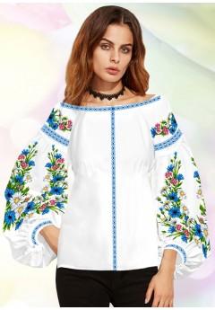 Жіноча сорочка, білий льон (B33)